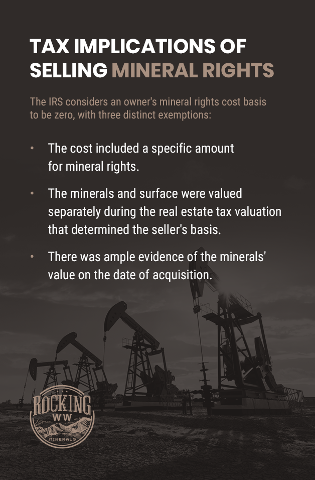 list covering tax implications of selling mineral rights